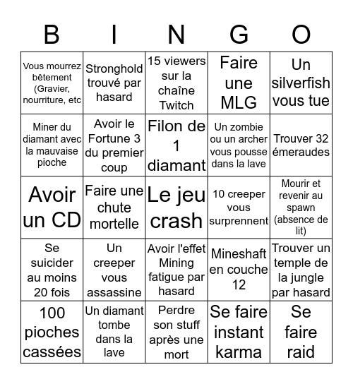 Minecraft Marathonfinement Bingo Card