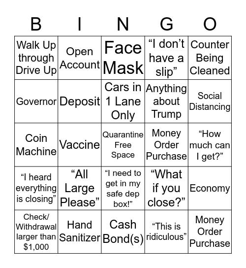 Coronavirus Bank Bingo Card