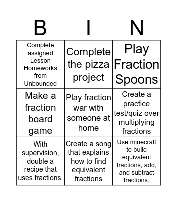 Fractions BINGO Homework Bingo Card