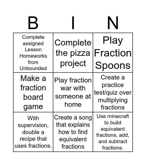 Fractions BINGO Homework Bingo Card