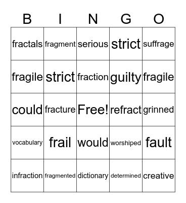 Fract and Frindle Bingo Card