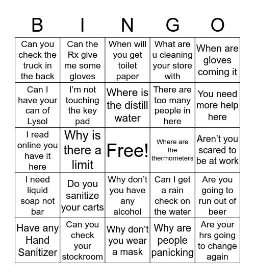 Walgreens COVID-19 Bingo Card