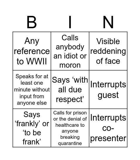 Piers Morgan Covid 19 Bingo Card