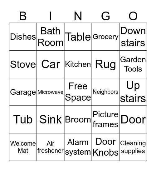 New Home Bingo Card