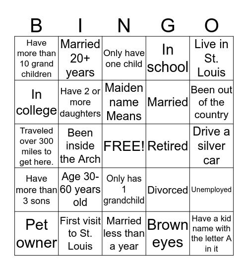 Means family  Bingo Card