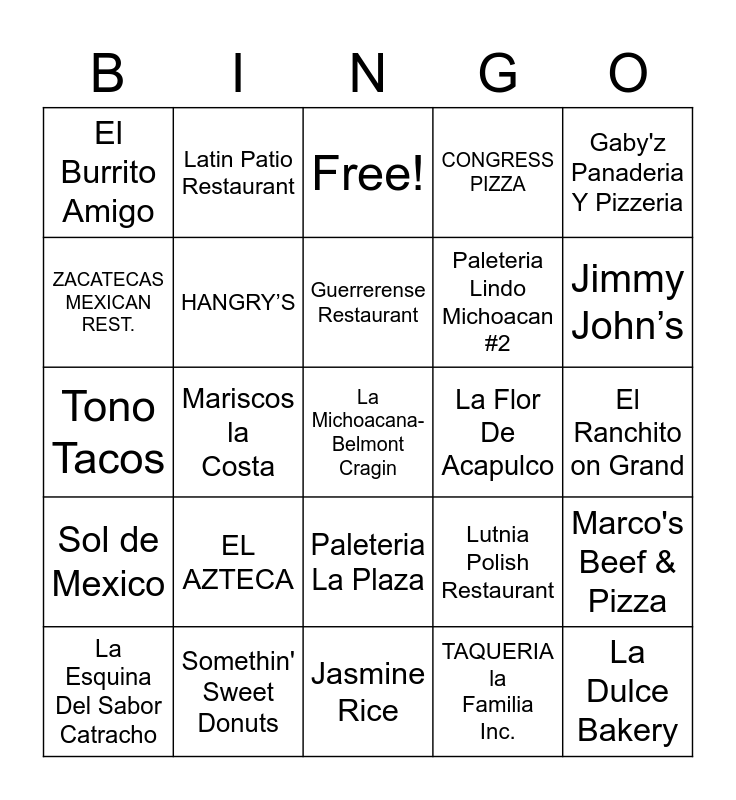 Belmont Cragin United Bingo Card
