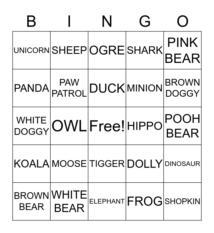 BEAR HUNT Bingo Card