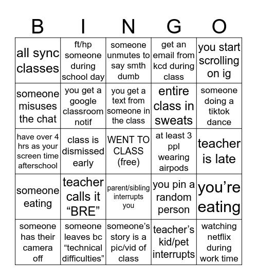 kcd online school bingo Card