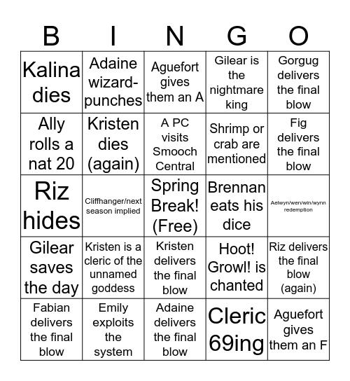 Fantasy High: Sophomore Year Finale Bingo Card