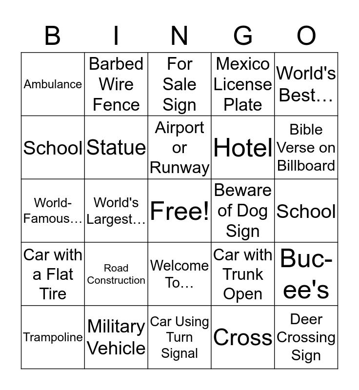 Travel Bingo Card