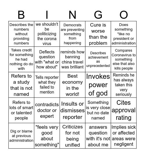 Trump press conference bingo Card