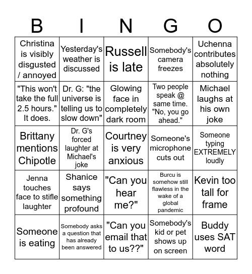 CMHC Quarantine Meeting Bingo Card