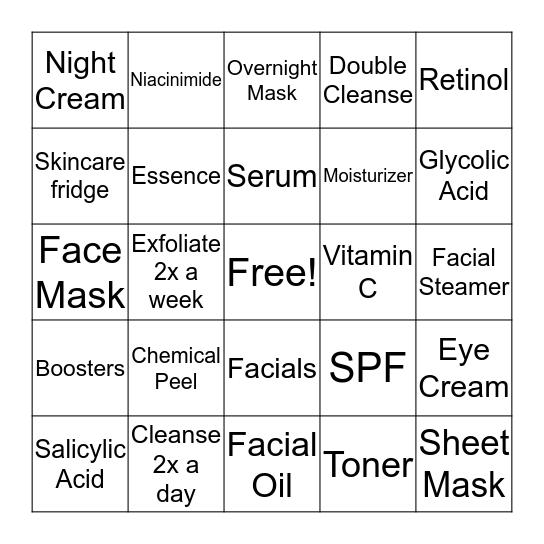 Skincare Bingo! Bingo Card