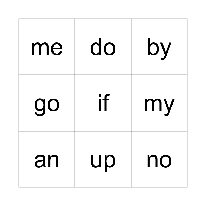 Red Words! Bingo Card