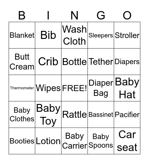 September 20 Baby Bingo Card