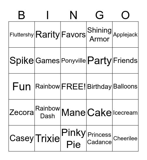 My Little Pony Bingo Card