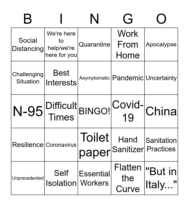 Corona Buzzword Bingo Card