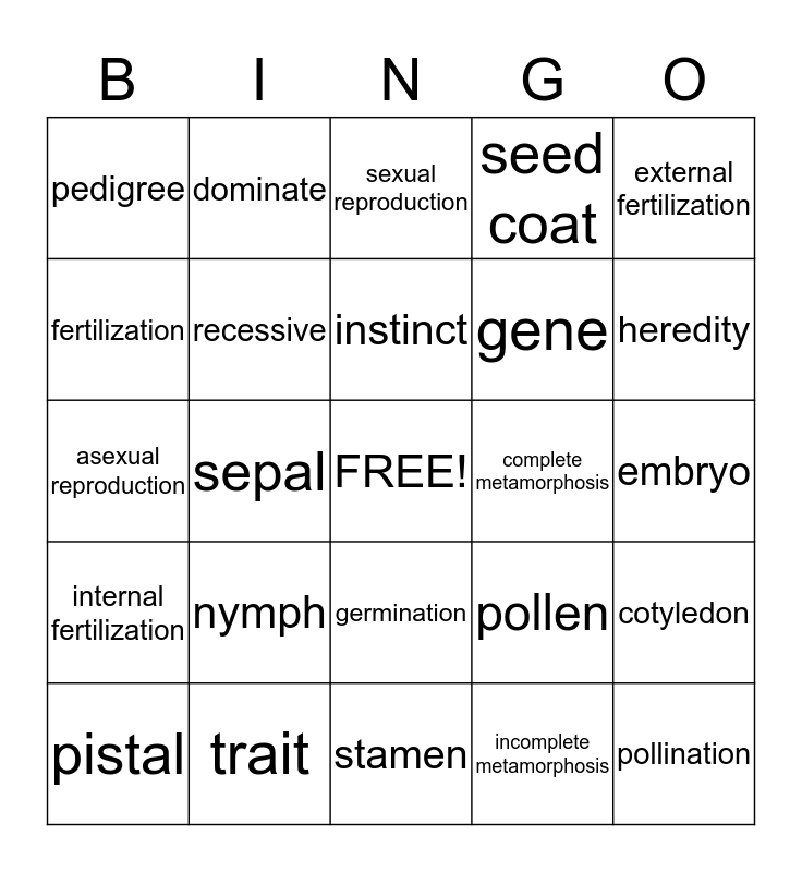 Science A-2 Bingo Card