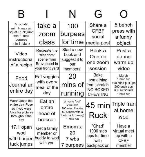CFBF Bingo Card