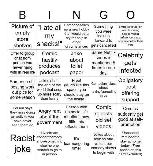 Quarentine Post bingo by Rob Ito Bingo Card