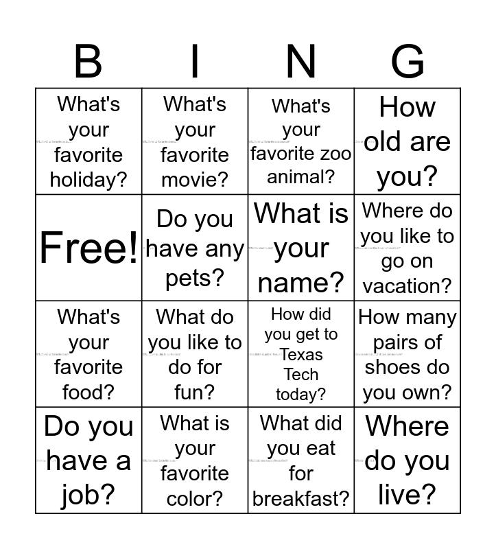 Question Bingo Card