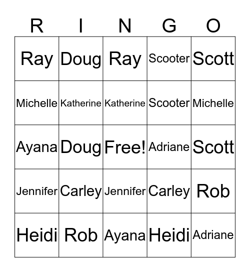 Ringo! Bingo Card