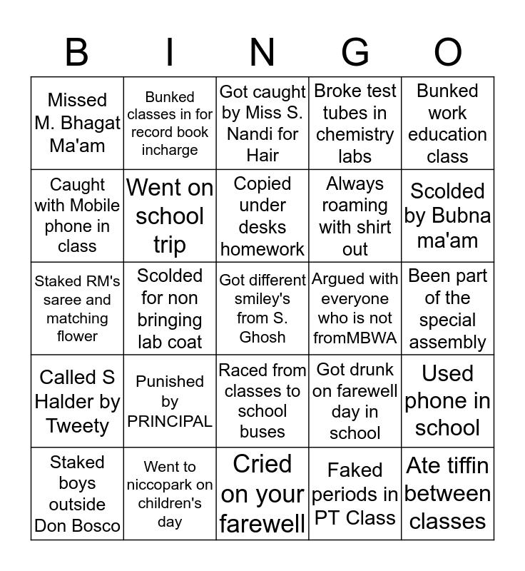 MBWA  Bingo Card