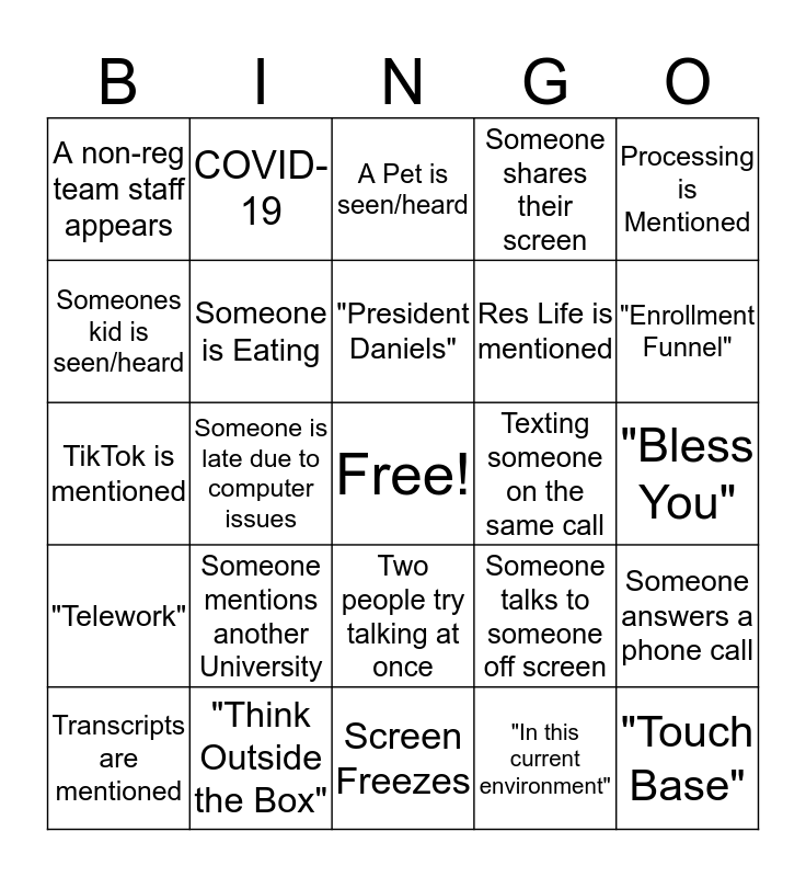 Registrar - Zoom Bingo Card