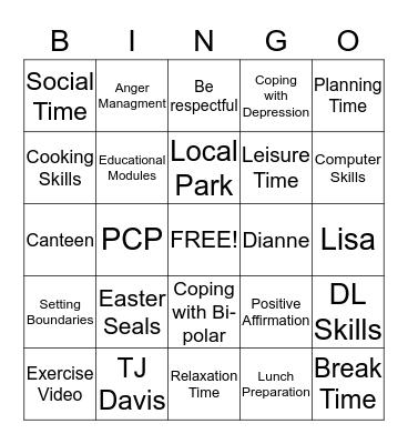 PSR Bingo Card