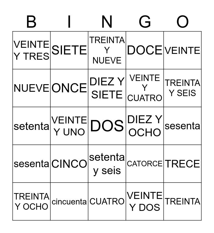 LOS NUMEROS 0-100 Bingo Card