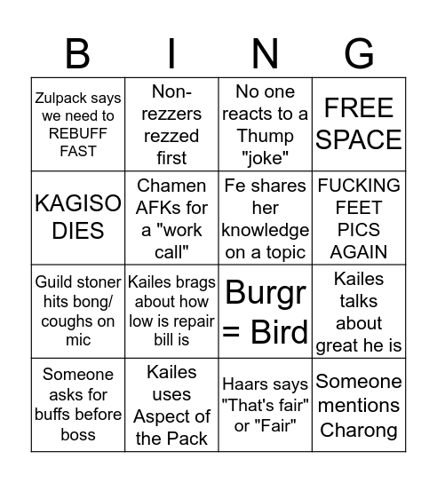 <Unity> Raid Night Bingo Card