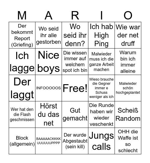 Mario Bingo Card