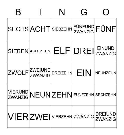 Die Zahlen Bingo Card