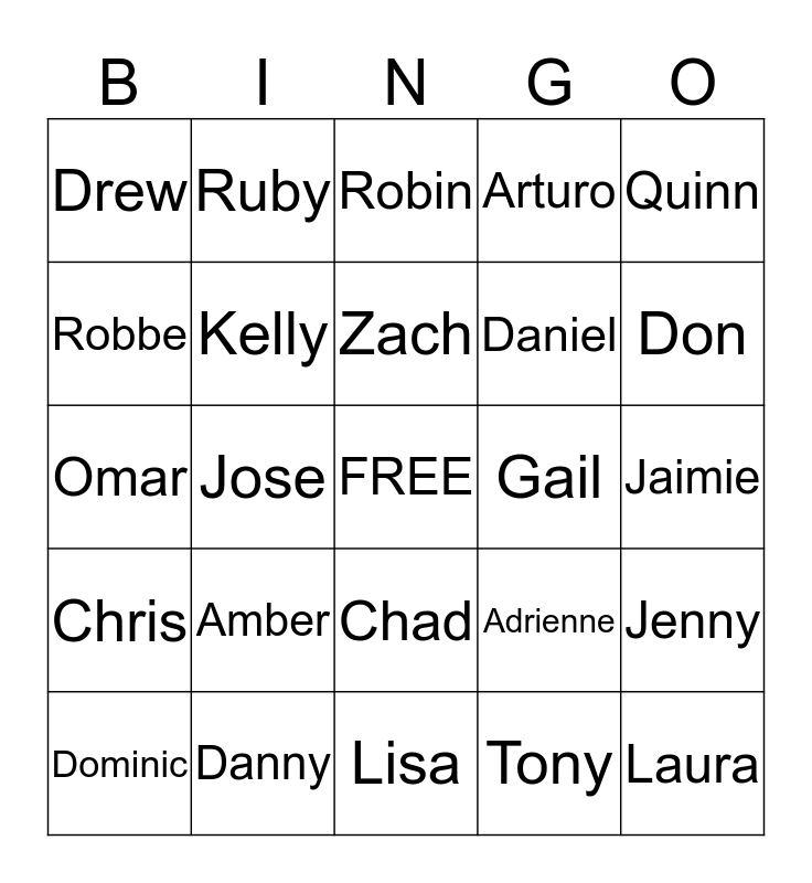 Anchor Bingo Card