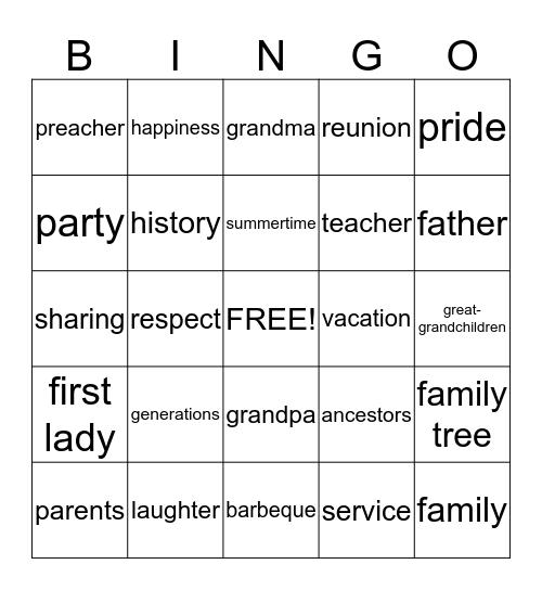 Family Reunion Bingo! Bingo Card