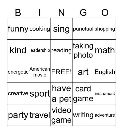 people interests bingo Card
