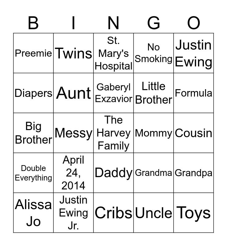 Alissa's Baby Shower Bingo Card