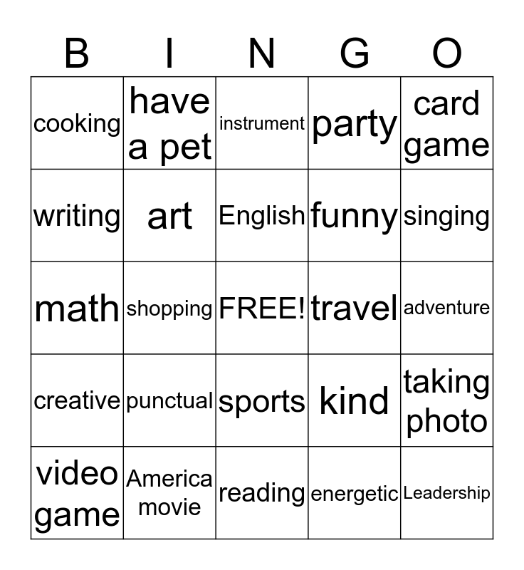 people interests bingo Card