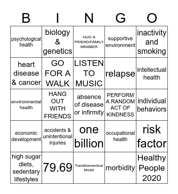 Healthy By Design Bingo Card