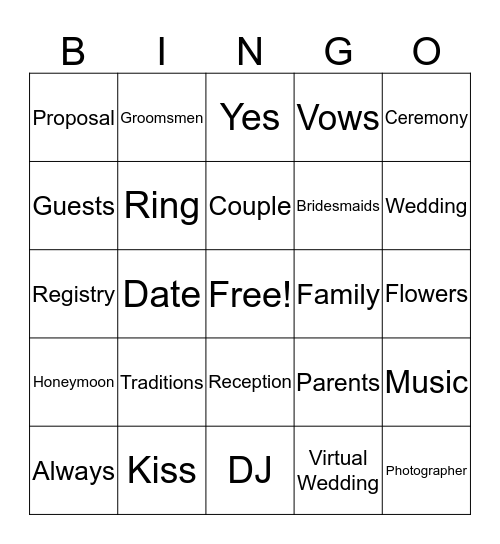 Zoom Bridal Shower BINGO! Bingo Card