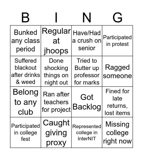 NIT DURGAPUR Bingo Card
