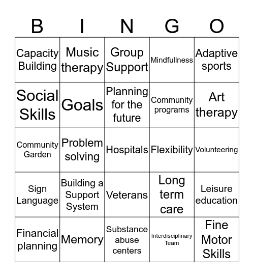 Recreation Therapy Bingo Card