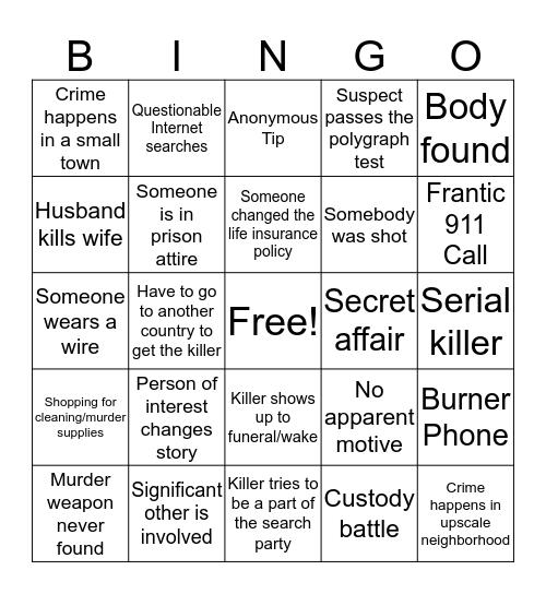 Murder Show Bingo Card