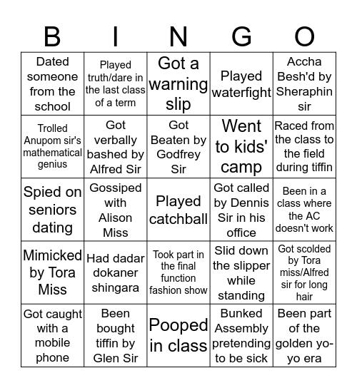 The OG AGCS  Bingo Card