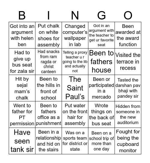 Paulian Bingo Card