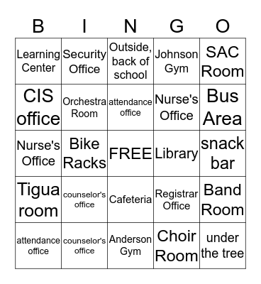 Ysleta Middle Bingo Card