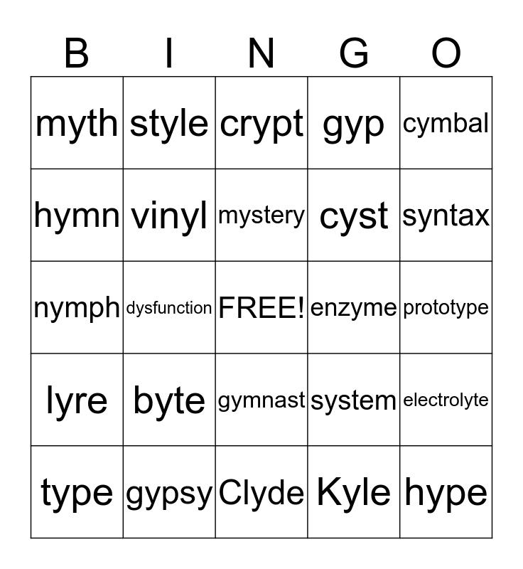 Y & Y-E Bingo Card