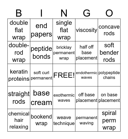 Chemical Textured Services Bingo Card