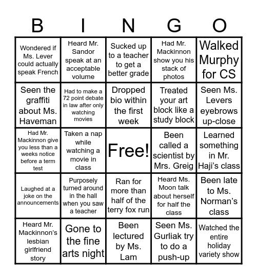 PW bingo! Bingo Card