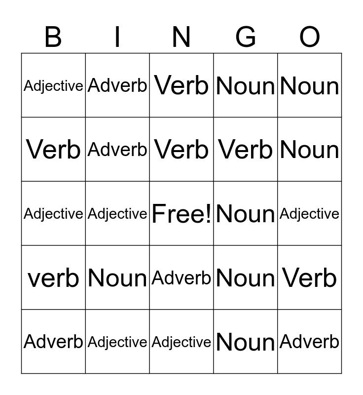 Nouns, Adjectives, Verbs, Adverbs Bingo Card